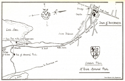 Map to McBain Memorial Park drawn by Ian Monro architect of McBain Park