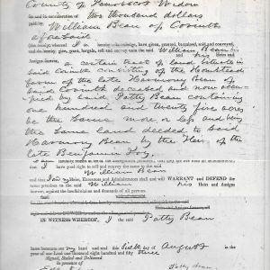 #14 1853 Land Deed, William Bean to Patty Fisher Bean (Fam. 1780)