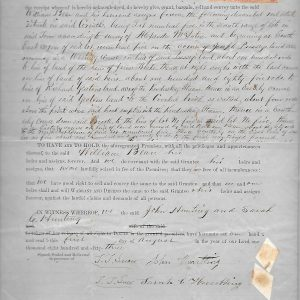 #16 1864 Warranty Deed of William Bean to John &  Sarah Hunting (Fam. 1780)