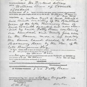 #18 1853 Warranty of Deed of Patty F. Bean to William Bean (Fam. 1780)