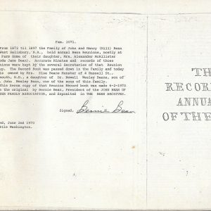 #25 1872-1902 Nancy Hill Bean Family Reunion Diary