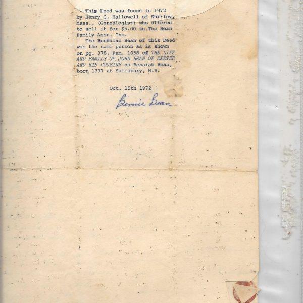 #29 1832 Benaiah Bean Deed