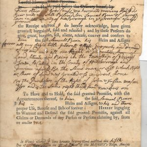 #4 1773 Samuel Bean Land Deed to son Samuel, Fam. 1683