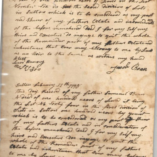 #6 1798 Land Deed Receipt Samuel Bean, Jacob Bean